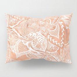 Modern tan copper terracotta watercolor floral white boho hand drawn pattern Pillow Sham