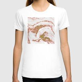 Rose Gold Glitter Sparkle Bling Marble on Pearl T-shirt