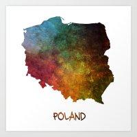 poland Art Prints featuring Poland map  by jbjart