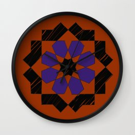 Zellige - purple and orang Wall Clock