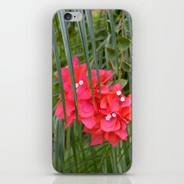Tropical flower with palm tree branches iPhone Skin