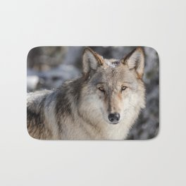 Wolf in the Snowy Woods Hunting Bath Mat