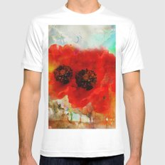 Champ de coquelicots MEDIUM Mens Fitted Tee White