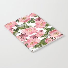 Vintage forest green pink coral bohemian floral Notebook