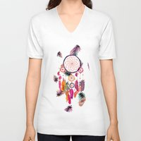 preppy V-neck T-shirts featuring Hipster Watercolor Dreamcatcher Feathers Pattern  by Girly Trend