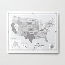 United States of America [Black & White] Map print Metal Print