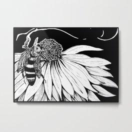 Bee & Coneflower Metal Print