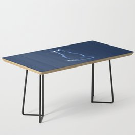 Sitting Cat from behind in Blue Coffee Table