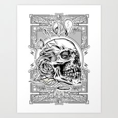 Skullflower Black and White  Art Print