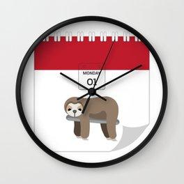 Lazy Koala Calendar Day Wall Clock