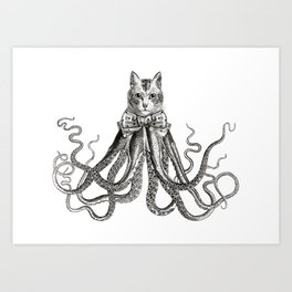 Octopussy | Hybrid Cat and Octopus | Vintage Animals | Black and White | Art Print