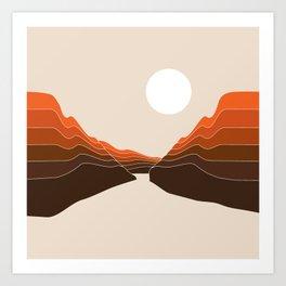 Desert Dusk Ravine Art Print