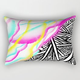 Abstract rainbow neon watercolor paint contrast black white geometric hand drawn stripes pattern Rectangular Pillow