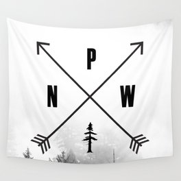 PNW Pacific Northwest Compass - Black and White Forest Wall Tapestry