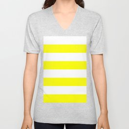 Wide Horizontal Stripes - White and Yellow Unisex V-Neck