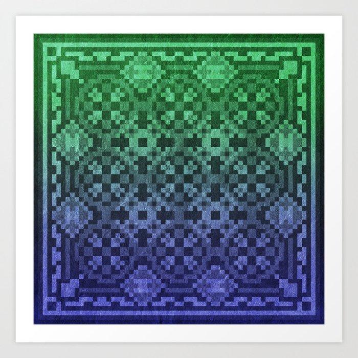 Pixel Patterns Blue Green Art Print