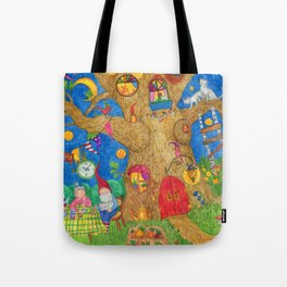 A family of gnomes grandparents drink tea in the summer in the garden. Tote Bag