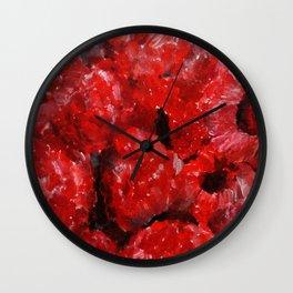 Raspberries - Still Life In Acrylics Original Fine Art Wall Clock