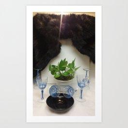 Mink 'n Classy Blue Wine Glasses Art Print