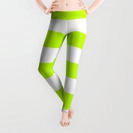 Bitter lime - solid color - white stripes pattern Leggings