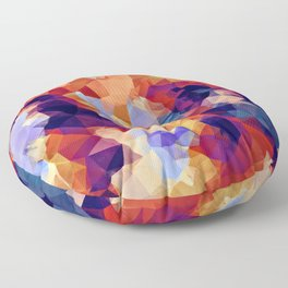 psychedelic geometric polygon pattern abstract in orange brown blue purple Floor Pillow