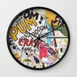 Bird Crash Pom Wall Clock
