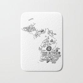 Michigan - Hand Lettered Map Bath Mat