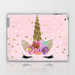 Floral Trendy Modern Unicorn Horn Gold Confetti Laptop & iPad Skin