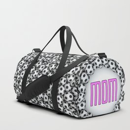 Soccer Mom / 3D render of hundreds of soccer balls framing Mom text Duffle Bag