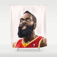 nba Shower Curtains featuring James Harden by Roland Banrevi
