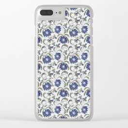 Retro . Floral pattern in blue tones . Clear iPhone Case