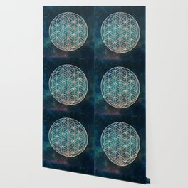 Mandala Flower of Life Rose Gold Space Stars Wallpaper