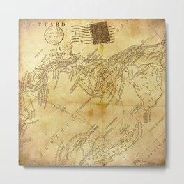 Vintage -  Map -  Background -  Paper -  Newspaper -  Post Card - Vintage illustration. Retro décor. Metal Print
