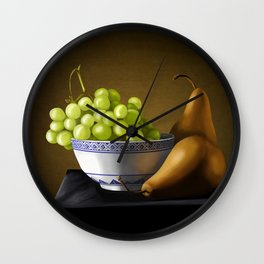 Pears and Grapes in a Bowl Wall Clock