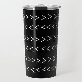 mudcloth 14 minimal textured black and white pattern home decor minimalist beach Travel Mug