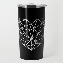 Black and White Geometric Heart Travel Mug