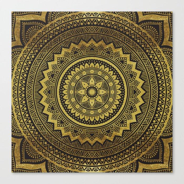 Black and Gold Mandala Canvas Print
