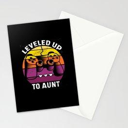 Leveled up to aunt retro sunset console gamer 2020 Stationery Cards