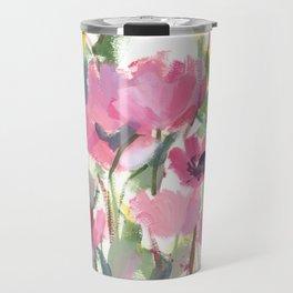 Pink Poppy Graphic Travel Mug