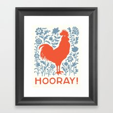 Hooray! rooster large print Framed Art Print