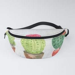 Three Cacti watercolor white Fanny Pack