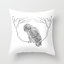 Owl In Tree (Print) Throw Pillow