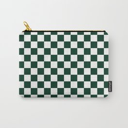 Small Checkered - White and Deep Green Carry-All Pouch