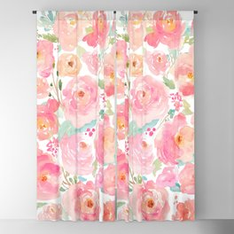 Watercolor Peonies Summer Bouquet Blackout Curtain