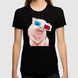 Baby Pink Pig Wear Glasses Pink T-shirt