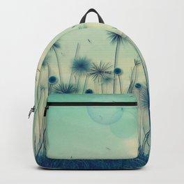 Whimsical Indigo Dandelion Flower Garden Backpack