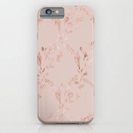 Elegant glam mauve pink rose gold floral pattern iPhone Case