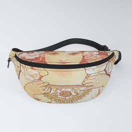 Rose by Alphonse Mucha 1897 // Vintage Girl with Red Hair Floral Love Design Fanny Pack