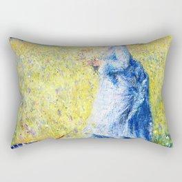 Pierre-Auguste Renoir - Woman Picking Flowers - Digital Remastered Edition Rectangular Pillow