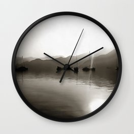 Gulets In Greyscale Wall Clock